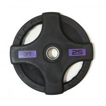Диск олимпийский обрезиненный черный с двумя хватами 25 кг