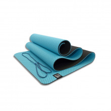 Мат для йоги 6 мм двухслойный перфорированный голубой