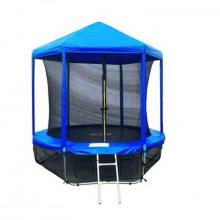 Батут 8 футов (синий) 2,44м с защитной сеткой (внутрь) и крышей