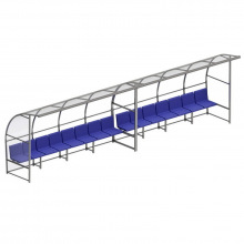 Скамейка для запасных игроков с навесом на 7 посадочных мест