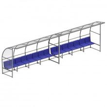 Скамейка для запасных игроков с навесом на 5 посадочных мест