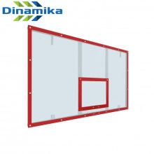 Щит баскетбольный игровой 1800х1050 поликарбонат на раме (разметка красная)
