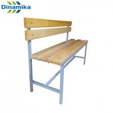 Скамейка для раздевалки со спинкой 1200 мм сиденье из дерева