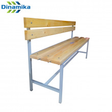 Скамейка для раздевалки со спинкой 1500 мм сиденье из дерева