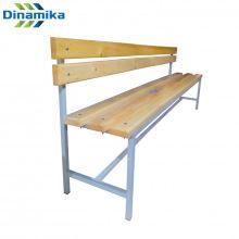 Скамейка для раздевалки со спинкой 2000 мм сиденье из дерева