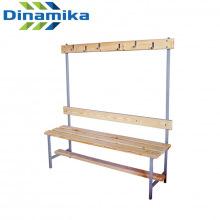 Скамейка для раздевалки с вешалкой 1200 мм сиденье из дерева
