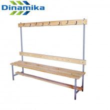 Скамейка для раздевалки с вешалкой 1500 мм сиденье из дерева