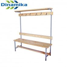 Скамейка для раздевалки с вешалкой 1200 мм с верхней полкой сиденье из дерева