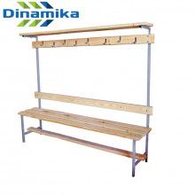 Скамейка для раздевалки с вешалкой 1500 мм с верхней полкой сиденье из дерева