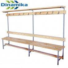 Скамейка для раздевалки с вешалкой 2000 мм с верхней полкой сиденье из дерева
