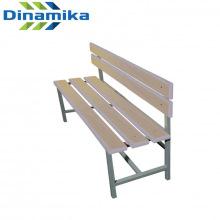 Скамейка для раздевалки со спинкой 1200 мм сиденье из фанеры