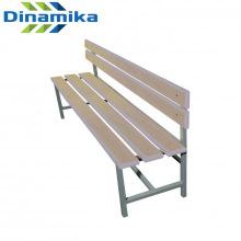 Скамейка для раздевалки со спинкой 1500 мм сиденье из фанеры