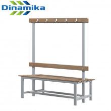 Скамейка для раздевалки двухсторонняя с вешалкой 1200 мм сиденье из дерева